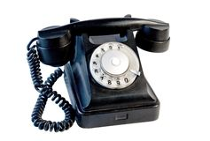 Black vintage phone isolated Stock Image