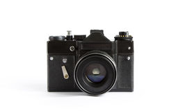 Black Vintage Photo Camera With Lense Isolated on a White Backgr Stock Image
