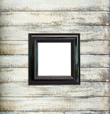 Black Vintage picture frame on old wood background Stock Photography