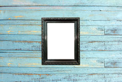 Free Black Vintage Picture Frame On Old Wood Background Stock Photography - 25895572