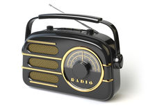 Black vintage retro radio receiver  on white. Royalty Free Stock Photos
