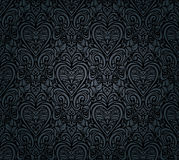 Black vintage seamless floral wallpaper Royalty Free Stock Photo