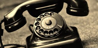 Black Vintage Telephone stock photos