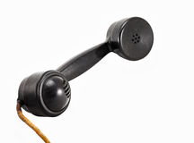 Black vintage telephone handset Stock Photo