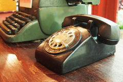 Black vintage telephone Stock Photo