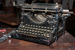 Black Vintage Typewriter: Front View. Antique Black Vintage Typewriter: Front View Royalty Free Stock Photography