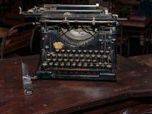 Black Vintage Typewriter: Front View. Antique Black Vintage Typewriter: Front View Stock Images