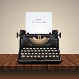 Black Vintage Typewriter On Wooden Table royalty free illustration