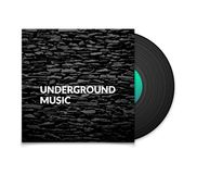 Black vintage vinyl record and black underground Royalty Free Stock Photo
