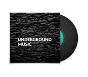 Black vintage vinyl record and black underground Royalty Free Stock Photo