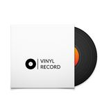 Black vintage vinyl record with blank cover case Stock Images