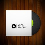 Black vintage vinyl record with blank cover case Stock Photo
