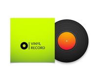 Black vintage vinyl record with blank green cover Royalty Free Stock Images