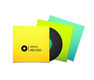 Black vintage vinyl record with blank yellow blue Royalty Free Stock Photo