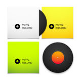 Black vintage vinyl record with blank yellow and Royalty Free Stock Photos
