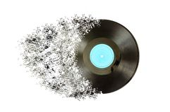 Black vinyl record lp album disc. Large detailed isolated long play disk Royalty Free Stock Images