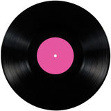 Black vinyl record lp album disc, isolated long play disk, blank label copy space in pink Stock Photography