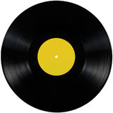 Black vinyl record lp album disc, isolated long play record disk, blank empty yellow label copy space Stock Photos