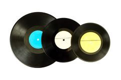 Black vinyl record lp album disc. Large detailed isolated long play disk Stock Photos