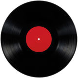 Black vinyl record lp album disc, large detailed isolated long play disk blank empty red label copy space. Black vinyl record lp album disc large detailed royalty free stock photography