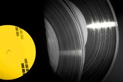 Black vinyl records stacked up Royalty Free Stock Photo