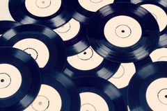 Black vinyl records vintage toned Royalty Free Stock Image