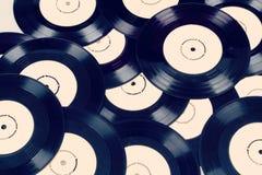 Black vinyl records vintage toned Royalty Free Stock Image
