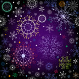 Black and violet effortless christmas pattern. With colorful snowflakes Stock Images