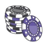 Black and violet stacks of gambling chips, casino tokens isolated on a white background. Color line art. Retro design. Royalty Free Stock Photos