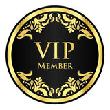 Black VIP member badge with golden vintage pattern Royalty Free Stock Photo