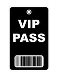 Black VIP Pass. Black VIP access pass with bar code, isolated on white background Royalty Free Stock Photography