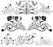 black vita designelement Arkivbilder
