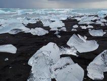 The ice cold volcanic beach stock photo