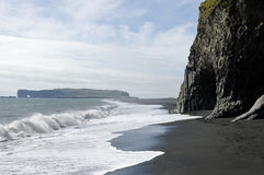 Black volcanic beach, Iceland. Stock Images