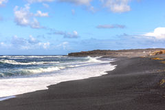 Black volcanic beach in Janubio, Lanzarote Royalty Free Stock Photography