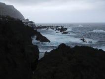 Black volcanic rocks on Atlantic coast, Madeira Stock Photos