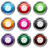 Black volleyball ball set 9 collection Royalty Free Stock Photography