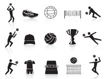 Black volleyball icons set Stock Photography