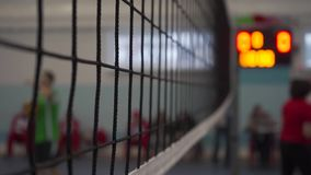 Volleyball net during a match. Black volleyball net during match stock footage