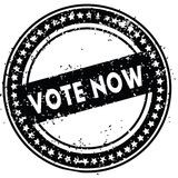 Black VOTE NOW distressed rubber stamp with grunge texture. Illustration Royalty Free Stock Photo