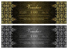 Black voucher with gold and silver ornamental patt Royalty Free Stock Photography