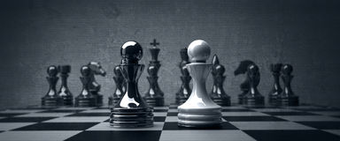 Black vs wihte chess pawn background Stock Photo