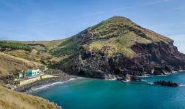 Black vulcanic sand beach at Madeira island Royalty Free Stock Photos