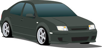Black VW Jetta. A Vector .eps illustration of a VW Jetta. Saved in layers for easy editing. See my portfolio for more automotive images vector illustration