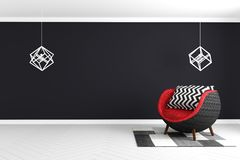 Black wall background in white glossy floor with red armchair and lamp and carpet modern style . 3D rendering. Mock up Black wall background in white glossy royalty free illustration