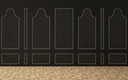 Black wall in a classic style, wooden floor Royalty Free Stock Images