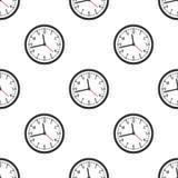 Black Wall Clock Flat Icon Seamless Pattern royalty free illustration