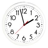 Black wall clock. Isolated on white background. High quality photo Royalty Free Stock Image