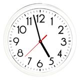 Black wall clock. Isolated on white background. High quality photo Royalty Free Stock Images
