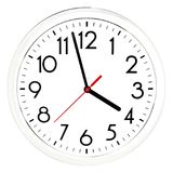 Black wall clock. Isolated on white background. High quality photo Royalty Free Stock Photography